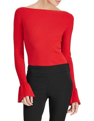 Lauren Ralph Lauren Petite Bell Cuff Rib Sweater-RED-Petite Large