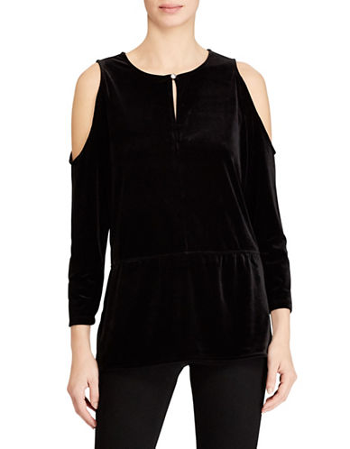 Lauren Ralph Lauren Petite Velvet Cold Shoulder Top-BLACK-Petite X-Small