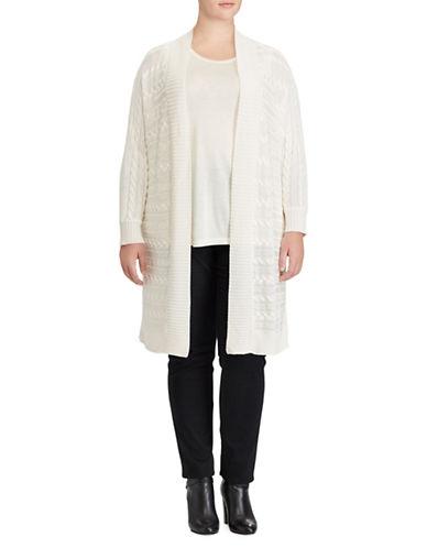 Lauren Ralph Lauren Plus Cotton-Blend Open Knit Cardigan-WHITE-1X