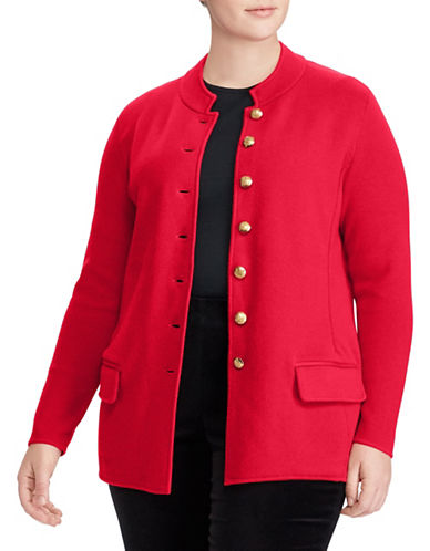 Lauren Ralph Lauren Plus Cotton Officers Jacket-LIPSTICK RED-3X