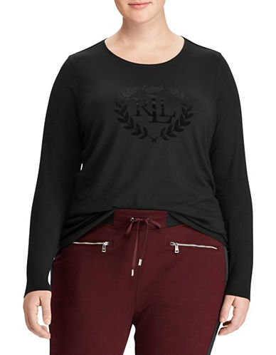Lauren Ralph Lauren Plus Studded Long-Sleeve Tee-POLO BLACK-1X