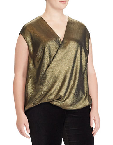 Lauren Ralph Lauren Plus Metallic Surplice Top-BLACK/GOLD-3X