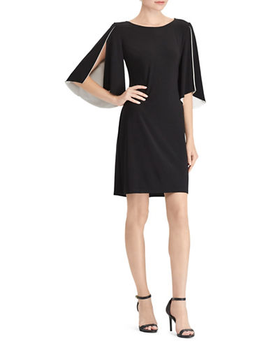 Chaps Two-Tone Jersey Dress-BLACK-X-Small