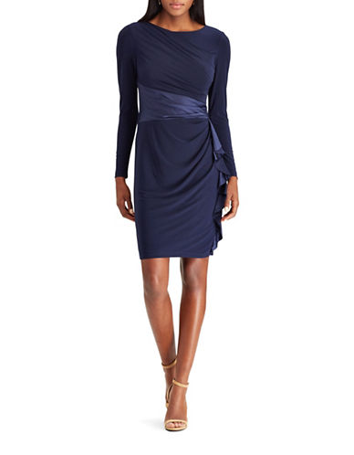 Chaps Satin-Trim Jersey Sheath Dress-BLUE-Small