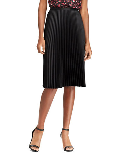 Lauren Ralph Lauren Pleated Satin Skirt-BLACK-14