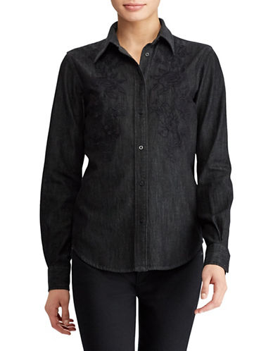 Lauren Ralph Lauren Floral Embroidered Denim Button-Down Shirt-BLACK-Small