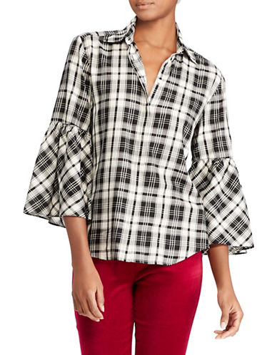Lauren Ralph Lauren Plaid Bell-Sleeve Cotton Button-Down Shirt-BLACK-Large