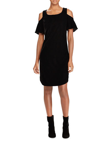 Lauren Ralph Lauren Velvet Cold-Shoulder Shift Dress-BLACK-10