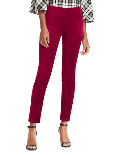 Lauren Ralph Lauren Petite Stretch Velvet High-rise Skinny Pants-PURPLE-Petite 2