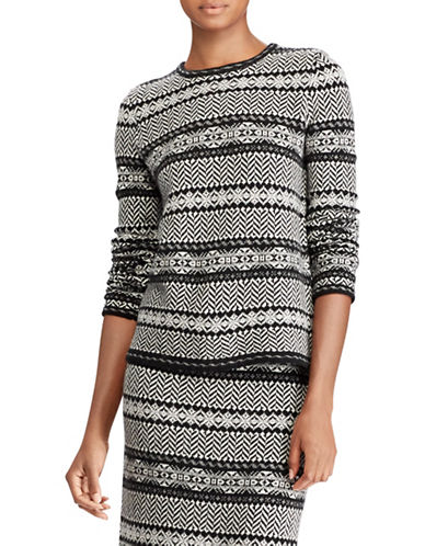 Lauren Ralph Lauren Petite Fair Isle Wool and Cashmere Sweater-BLACK MULTI-Petite Large