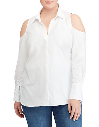 Lauren Ralph Lauren Plus Cold-Shoulder Button-Down Shirt-WHITE-1X
