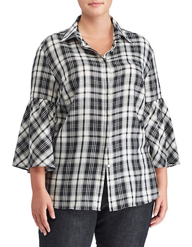 Lauren Ralph Lauren Plus Plaid Bell Sleeve Cotton Button-Down Shirt-BLACK MULTI-2X