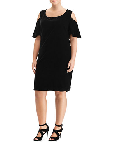 Lauren Ralph Lauren Plus Velvet Cold-Shoulder Dress-BLACK-16W