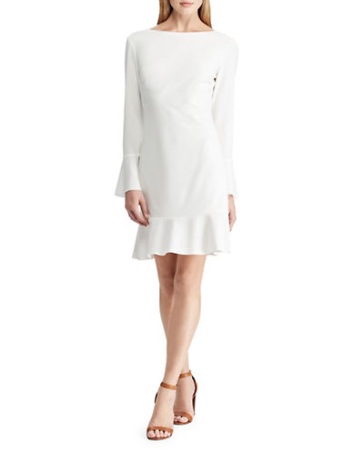 Chaps Ruffled Long-Sleeve Fit-And-Flare Dress-CREAM-8