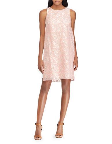 Chaps Floral Lace Dress-PINK-12
