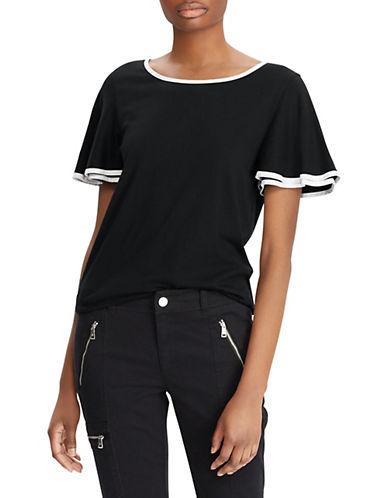Lauren Ralph Lauren Flutter-Sleeve Top-BLACK-X-Small 90089480_BLACK_X-Small
