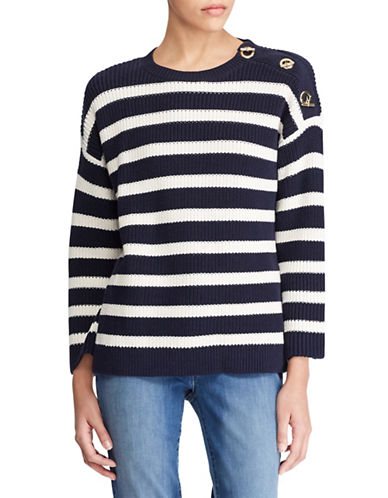 Lauren Ralph Lauren Striped Toggle Cotton Sweater-NAVY/CREAM-Small