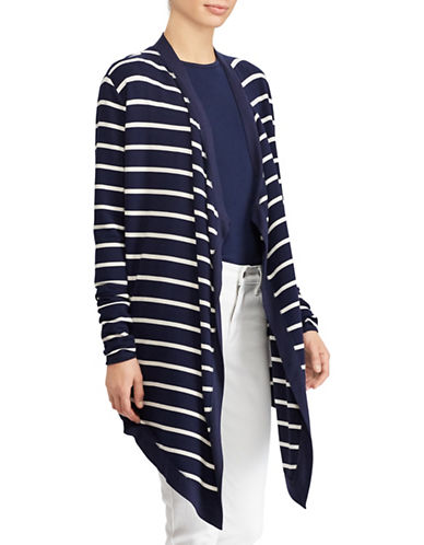 Lauren Ralph Lauren Striped Open-Front Cardigan-NAVY-Large