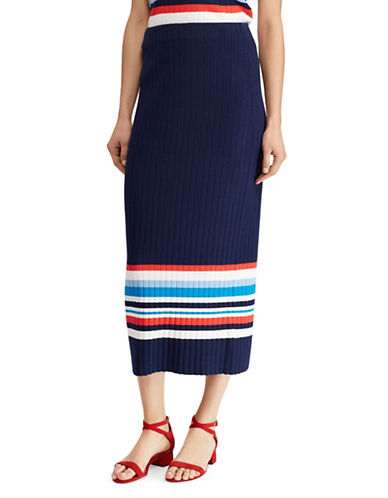 Lauren Ralph Lauren Striped Midi Skirt-MULTI-X-Small
