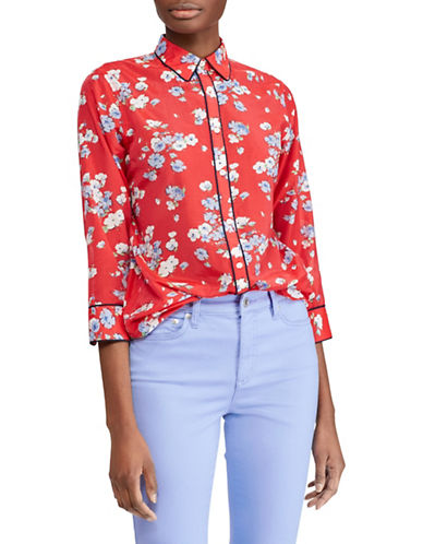 Lauren Ralph Lauren Cotton-Silk Floral Shirt-RED MULTI-Medium