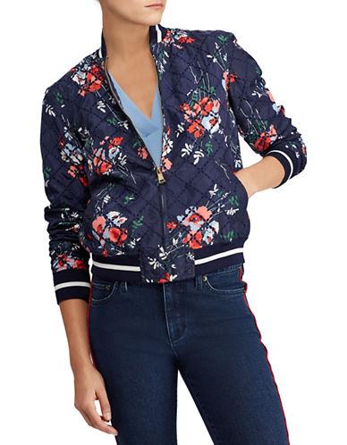 Lauren Ralph Lauren Zip Velvet Bomber Jacket-MULTI-Large