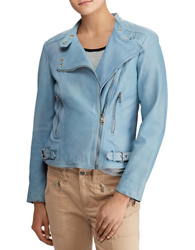 Lauren Ralph Lauren Tumbled Leather Moto Jacket-LIGHT SKY BLUE-16