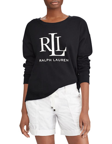Lauren Ralph Lauren Logo French Terry Sweatshirt-POLO BLACK-Small