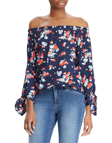 Lauren Ralph Lauren Floral Jersey Off-the-Shoulder Top-NAVY-Large