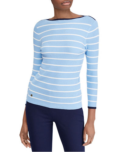 Lauren Ralph Lauren Petite Petite Striped Boat Neck Sweater-LIGHT SKY BLUE-Petite Medium