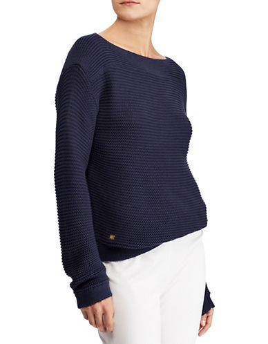 Lauren Ralph Lauren Petite Ribbed Boat Neck Cotton Sweater-NAVY-Petite Large
