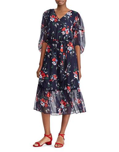 Lauren Ralph Lauren Petite Floral Georgette Midi Dress-NAVY-Petite 14