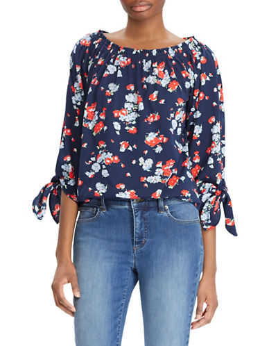 Lauren Ralph Lauren Petite Floral Jersey Off-the-Shoulder Top-NAVY-Petite Small