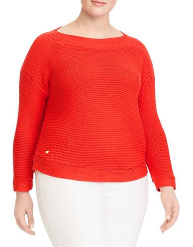 Lauren Ralph Lauren Plus Cotton Ribbed Sweater-TOMATO-2X