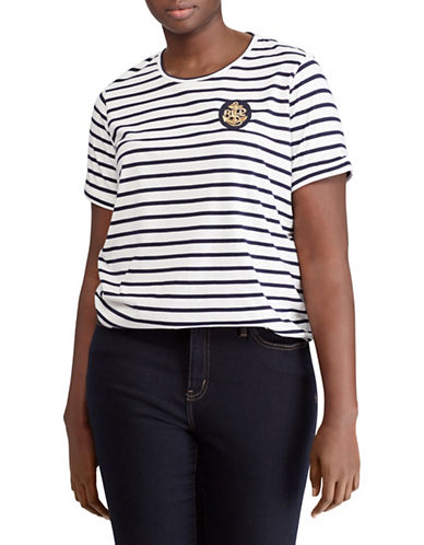 Lauren Ralph Lauren Plus Bullion-Patch Striped T-Shirt-WHITE-2X