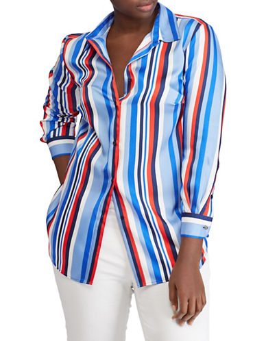 Lauren Ralph Lauren Plus Striped Cotton Button-Down Shirt-MULTI-2X
