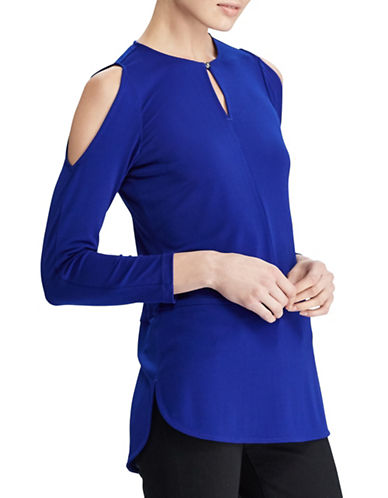 Lauren Ralph Lauren Cold-Shoulder Blouse-BLUE-Small
