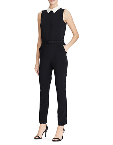 Lauren Ralph Lauren Two-Tone Crepe Jumpsuit-BLACK-2