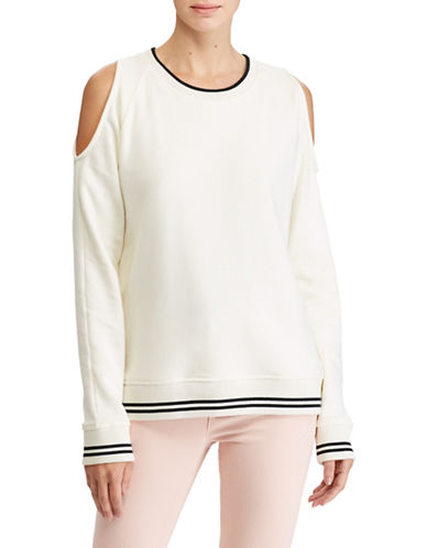 Lauren Ralph Lauren Two-Tone Cold Shoulder Sweatshirt-WHITE-Small