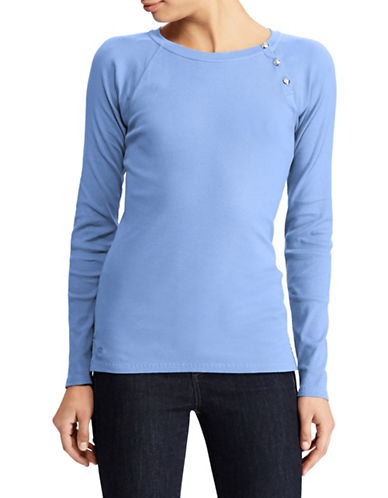 Lauren Ralph Lauren Solid Knit Top-LIGHT BLUE-X-Large