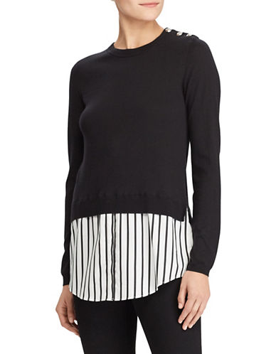 Lauren Ralph Lauren Layered Crew Neck Sweater-BLACK-Small