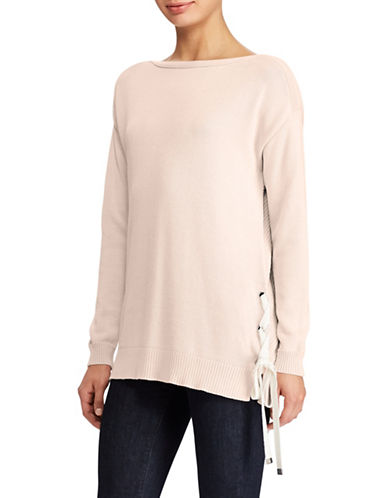 Lauren Ralph Lauren Lace-Up Boatneck Sweater-PINK-Medium