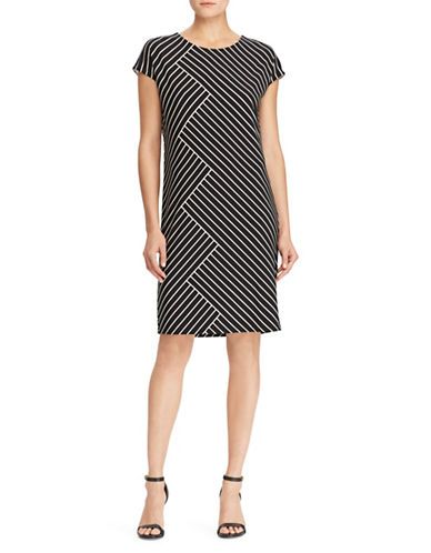Lauren Ralph Lauren Striped Stretch Jersey Sheath Dress-BLACK-Large