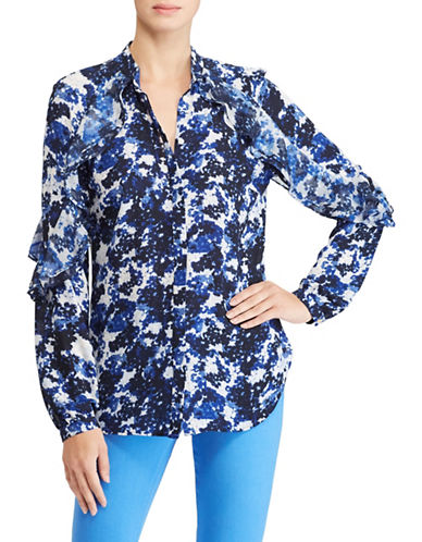 Lauren Ralph Lauren Ruffled Floral Georgette Button-Down Shirt-ASSORTED-X-Small