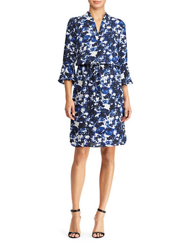 Lauren Ralph Lauren Georgette Drawstring Bell-Sleeve Dress-ASSORTED-10