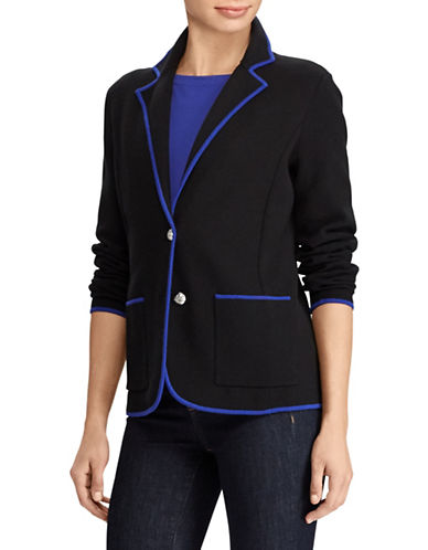 Lauren Ralph Lauren Notch Lapel Sweater Blazer-BLACK-X-Large