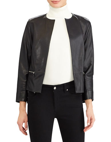 Lauren Ralph Lauren Collarless Leather Jacket-BLACK-16