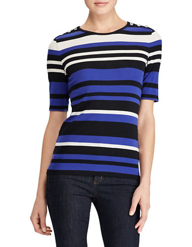 Lauren Ralph Lauren Striped Stretch Tee-MULTI-X-Small 89786917_MULTI_X-Small