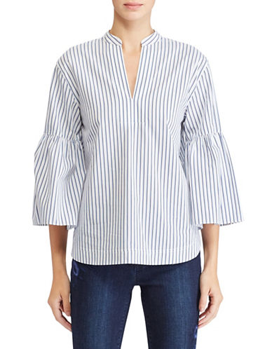 Lauren Ralph Lauren Striped Cotton Bell-Sleeve Blouse-WHITE-Large