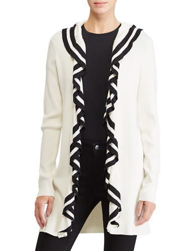 Lauren Ralph Lauren Ruffled Open-Front Cardigan-WHITE-Medium