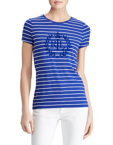 Lauren Ralph Lauren Studded Striped Jersey Tee-BLUE-Small